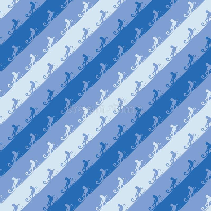 Naadloos vector diagonaal strepenpatroon met het sledding van mensen royalty-vrije illustratie
