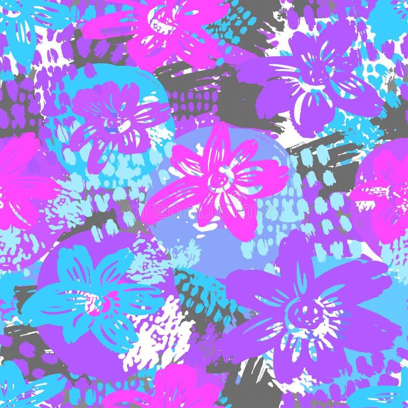 Naadloos vector flkoral patroon Getrokken de krabbelabs van de borstelpen hand royalty-vrije illustratie