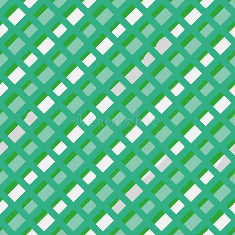 Naadloos vector geometrisch patroon met diagonale gestormde lijnen in groen en witte munt stock illustratie