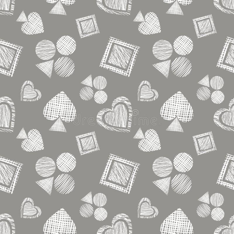 Naadloos vector geometrisch patroon met pictogrammen van speelkaarten achtergrond met hand getrokken geweven geometrische cijfers vector illustratie