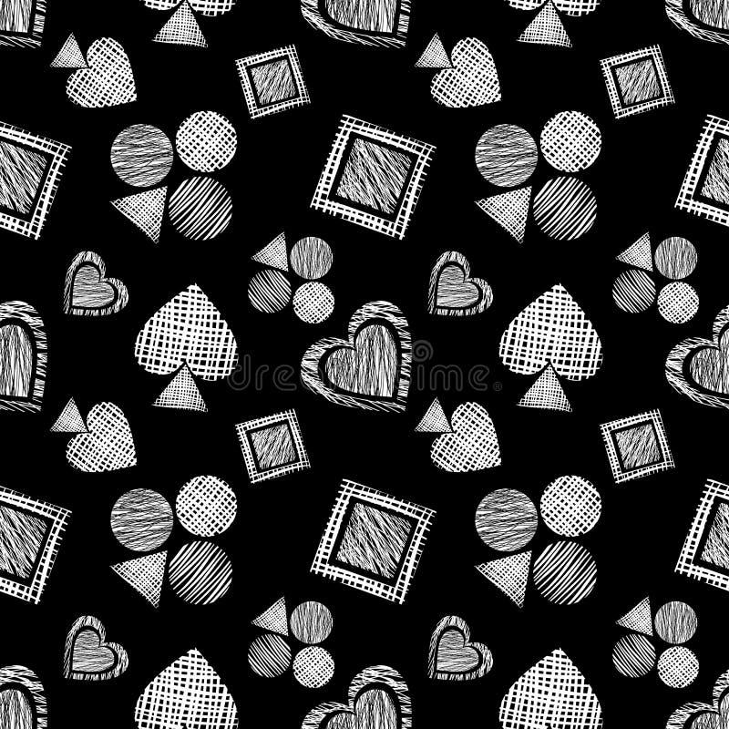 Naadloos vector geometrisch patroon met pictogrammen van speelkaarten achtergrond met hand getrokken geweven geometrische cijfers royalty-vrije illustratie
