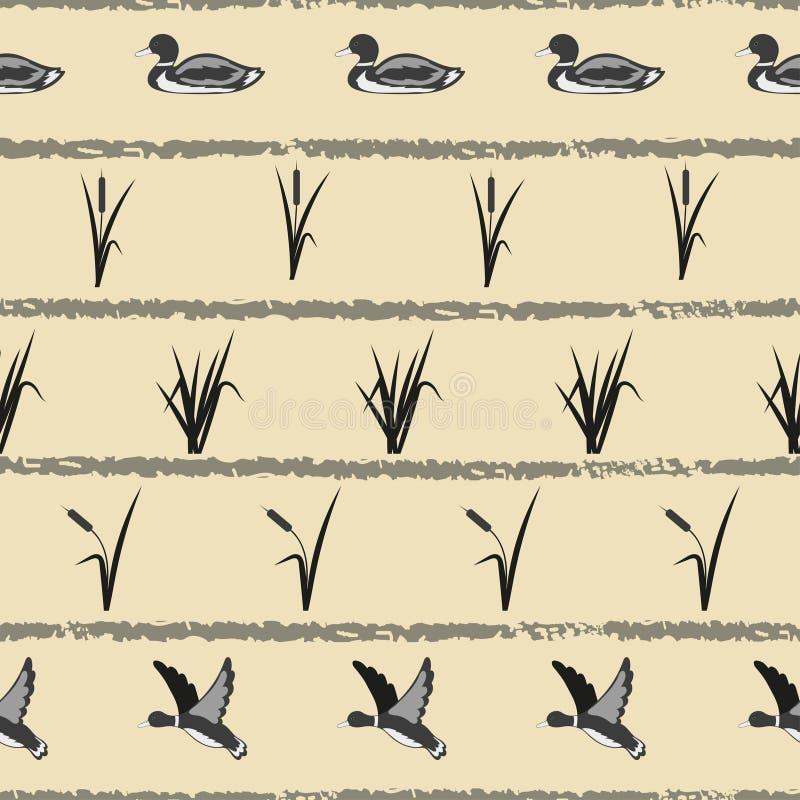 Naadloos vector gestreept patroon met eenden en riet vector illustratie