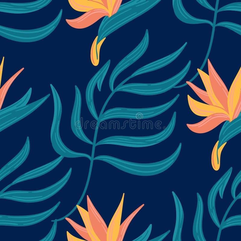 Naadloos vector hand-drawn abstract patroon met tropische bladeren en bloemen in Skandinavische stijl vector illustratie