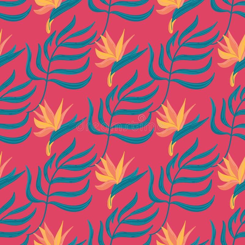 Naadloos vector hand-drawn abstract patroon met tropische bladeren en bloemen in Skandinavische stijl stock illustratie