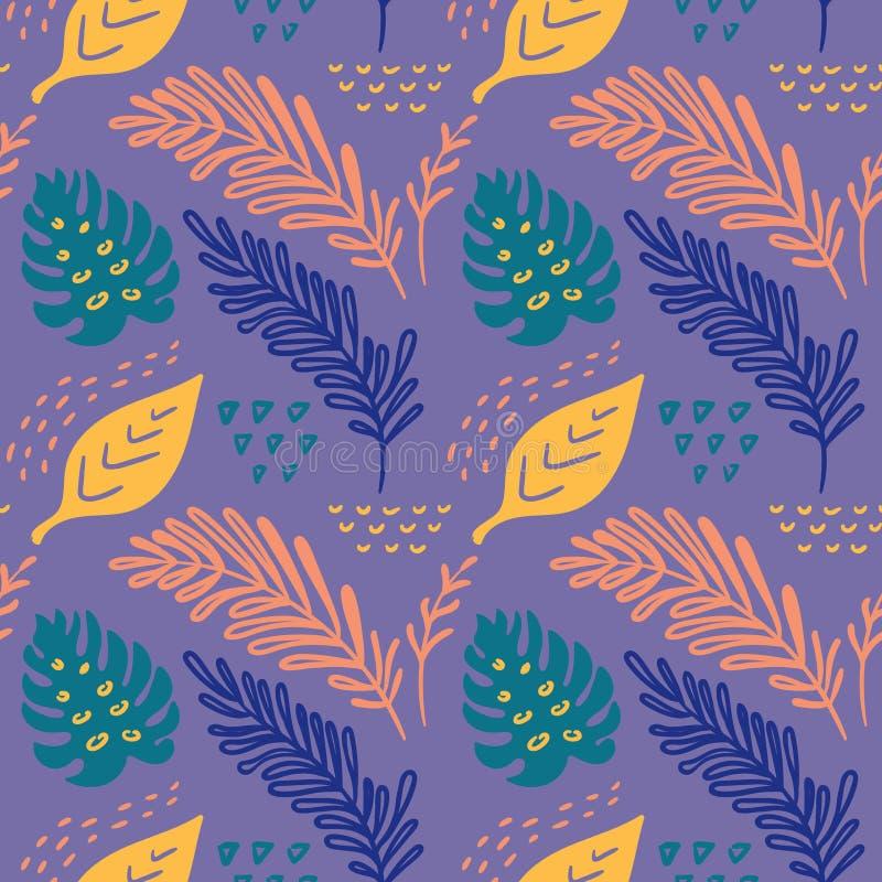 Naadloos vector hand-drawn abstract patroon met tropische bladeren in Skandinavische stijl stock illustratie