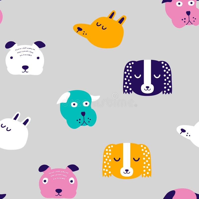 Naadloos vector kinderachtig patroon met hond dierlijke gezichten voor backround of textuur stock illustratie