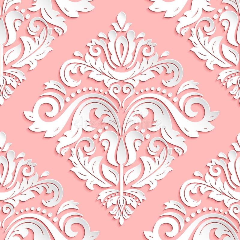 Naadloos Vector Oosters Patroon met 3D Elementen royalty-vrije illustratie