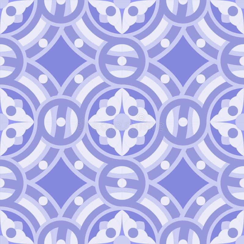 Naadloos vector uitstekend patroon als achtergrond in schaduwen van blauw, lilac, purper vector illustratie