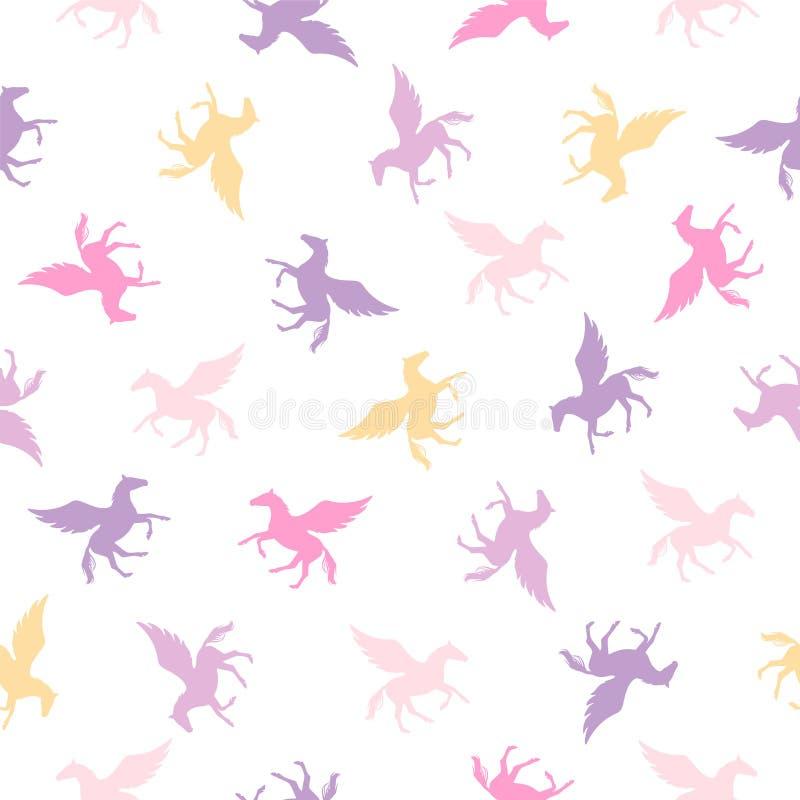 Naadloos vector vlak patroon - Pegasus vector illustratie