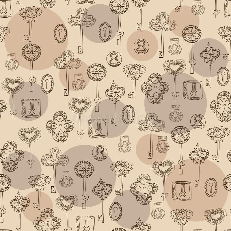 Naadloos vector zwart-wit patroon met sleutels en sleutelgaten vector illustratie