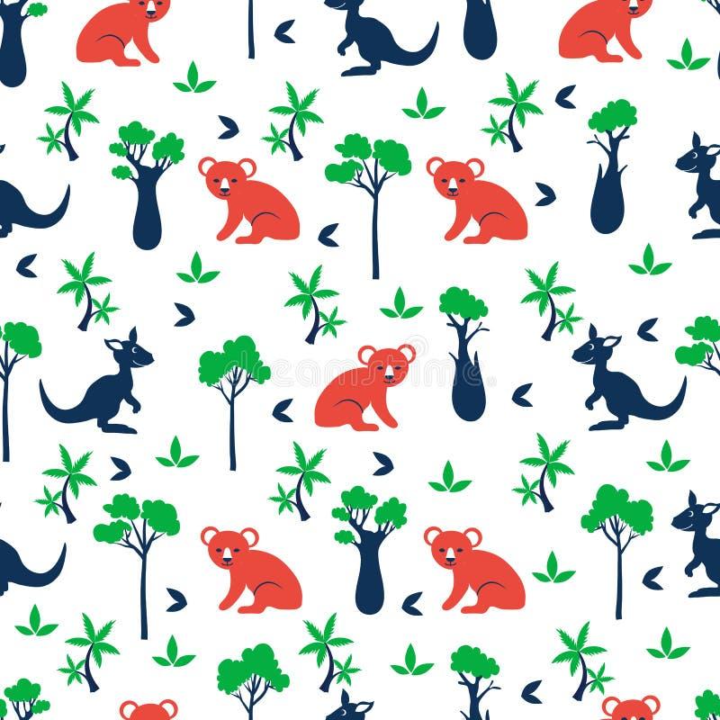 Naadloos vectorbeeldverhaalpatroon, Australische wilde dierenkoala, kangoeroe, cipres, flessenboom, exotische palm, royalty-vrije illustratie