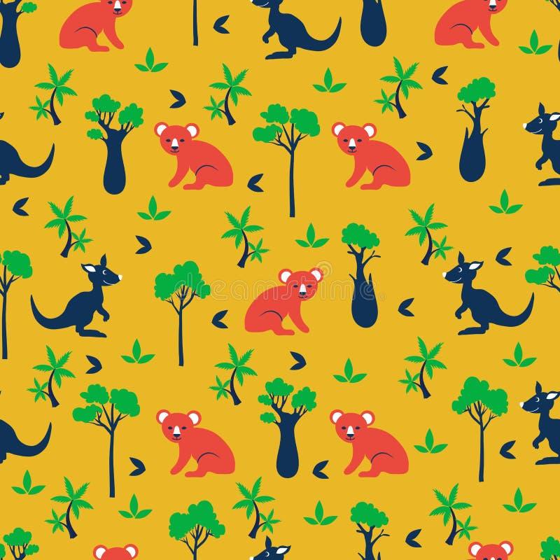 Naadloos vectorbeeldverhaalpatroon, Australische wilde dierenkoala, kangoeroe, cipres, flessenboom, exotische palm, stock illustratie