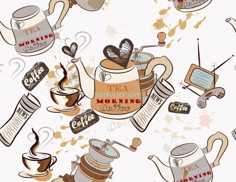 Naadloos vectorbehang op koffiethema vector illustratie