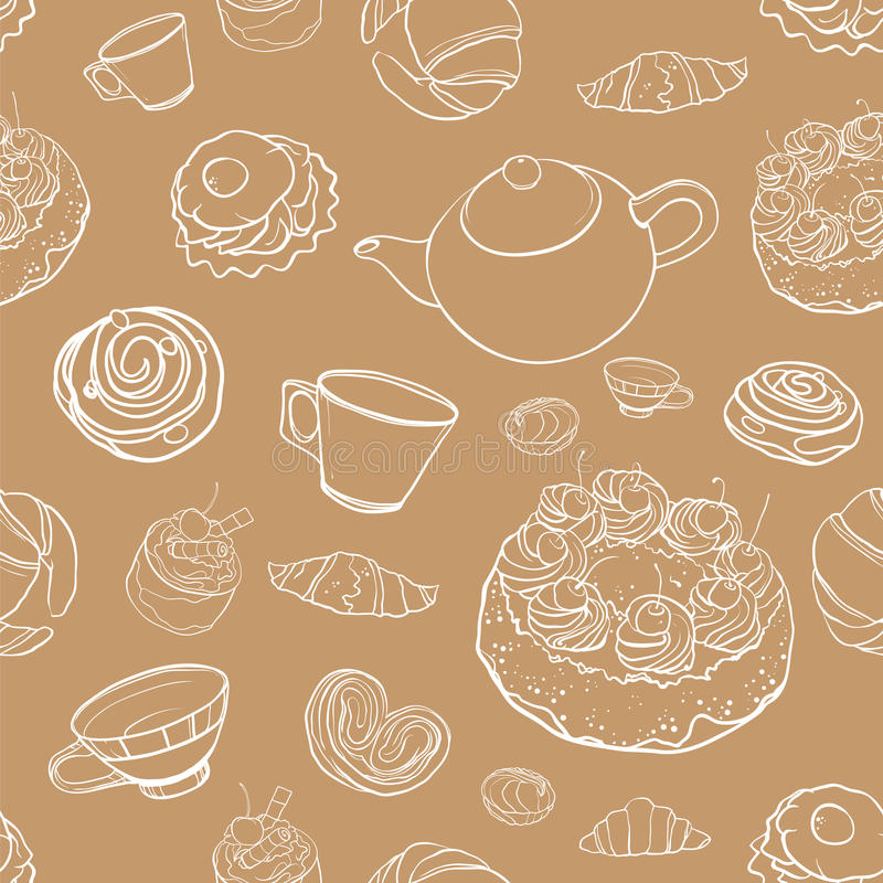 Naadloos vectorcontourpatroon met baksel, gebakjes, cakes, te vector illustratie