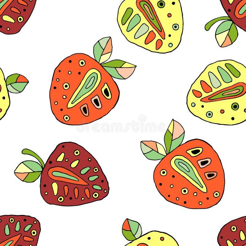 Naadloos vectorhand getrokken kinderachtig patroon met vruchten Leuke kinderlijke aardbeien met bladeren, zaden, dalingen Krabbel stock illustratie