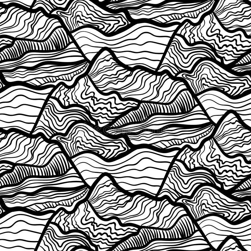 Naadloos vectoripatroon van wervelingen van golven, pieken van bergen Zwart-wit hand getrokken ornament stock illustratie