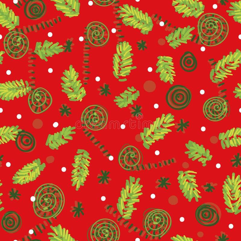 Naadloos vectorkerstmispatroon met boomtakken en ornamenten stock illustratie