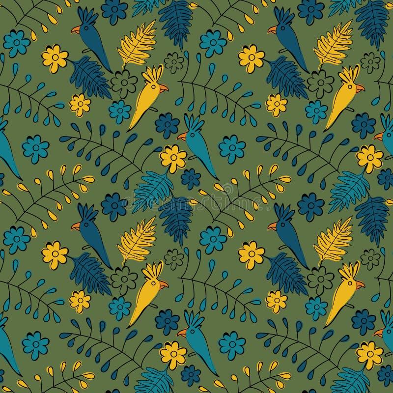 Naadloos vectorkrabbelpatroon met papegaaien, bladeren, en bloemen royalty-vrije illustratie