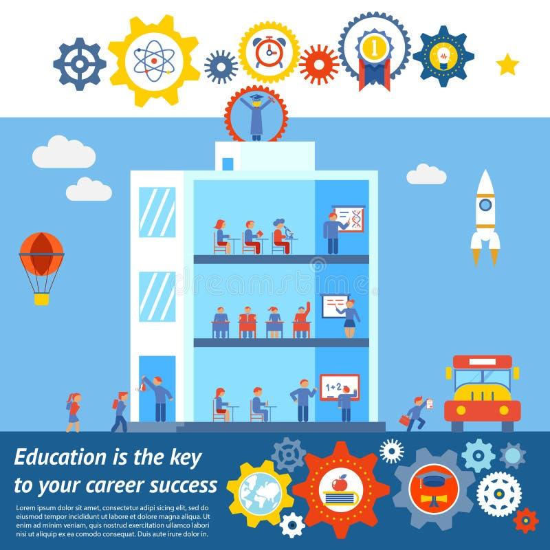 Naadloos Vectoronderwijs aan Succesontwerp stock illustratie