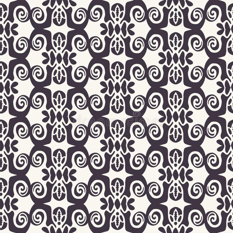 Naadloos vectorpatroon Abstracte etnische stammenscandistijl Het herhalen van tegelachtergrond Het zwart-wit textielmonster van h royalty-vrije illustratie