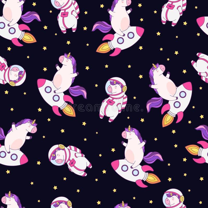 Naadloos vectorpatroon, achtergrond, behang met grappige eenhoorns Leuke eenhoorn op raket, in spacesuit vector illustratie