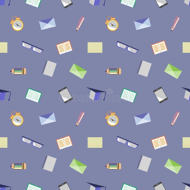 Naadloos vectorpatroon, achtergrond met glazen, academische kappen, brieven, pennen, potloden, notitieboekjes en wekkers stock illustratie