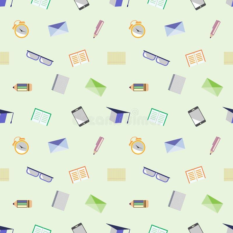 Naadloos vectorpatroon, achtergrond met glazen, academische kappen, brieven, pennen, potloden, notitieboekjes en wekkers op licht royalty-vrije illustratie
