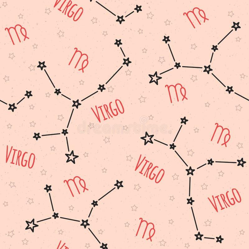 Naadloos vectorpatroon Achtergrond met het beeld van constellatie royalty-vrije illustratie