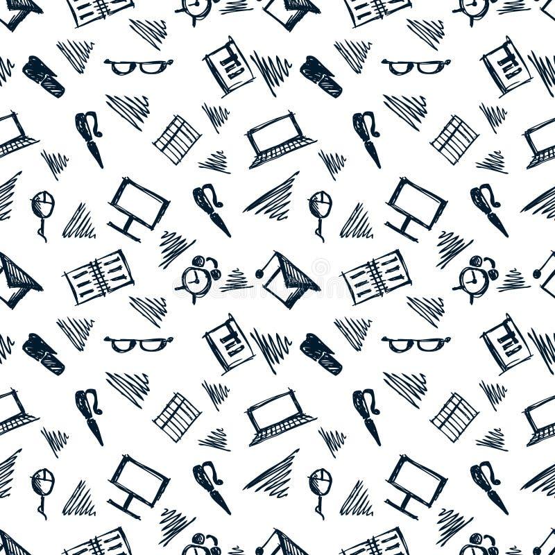 Naadloos vectorpatroon, achtergrondnotitieboekjes, pennen, potloden, glazen en boeken op de witte achtergrond stock illustratie