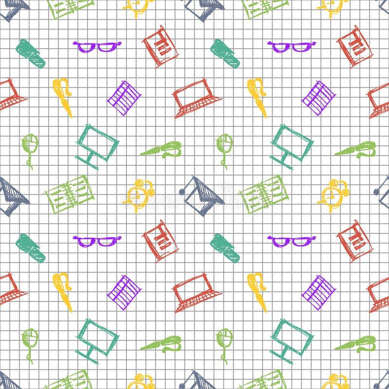 Naadloos vectorpatroon, achtergrondnotitieboekjes, pennen, potloden, glazen en boeken op het geruite document royalty-vrije illustratie