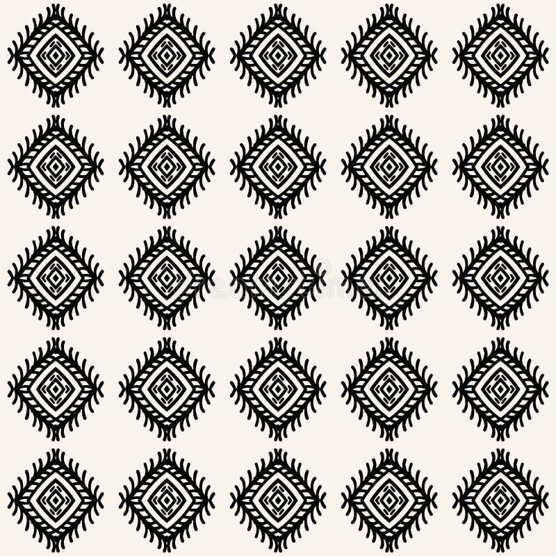 Naadloos vectorpatroon Afbijtende geometrische motieven Door de hand getrokken diamantdemper Herhaling van de achtergrond van de  vector illustratie