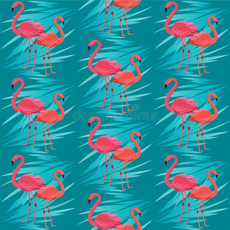 Naadloos vectorpatroon, banner met flamingo, het tropische ontwerp van de bladeren exotische bloem royalty-vrije illustratie