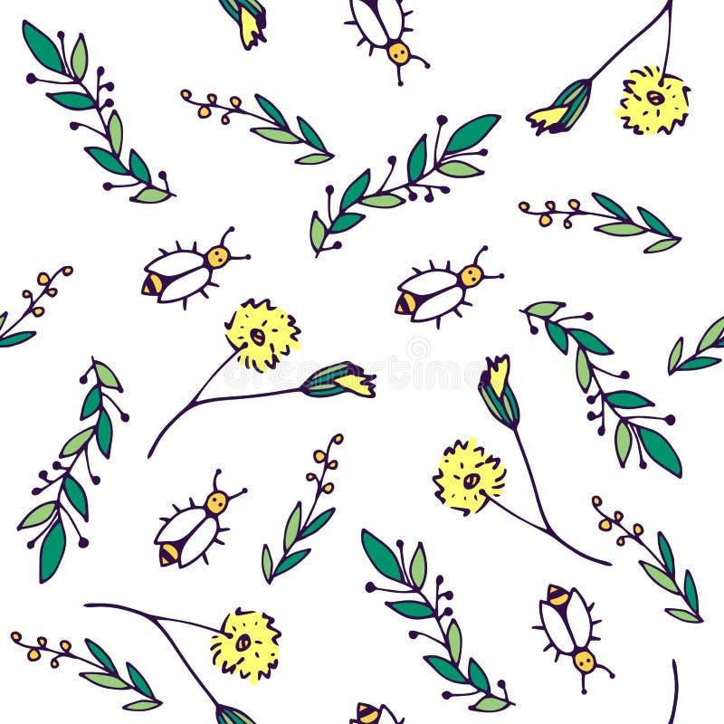 Naadloos vectorpatroon Bijen, paardebloemen, groene takken royalty-vrije illustratie