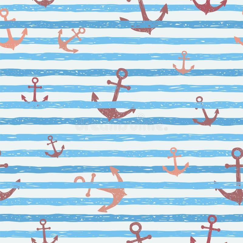 Naadloos vectorpatroon - blauwe strepen met ankers vector illustratie