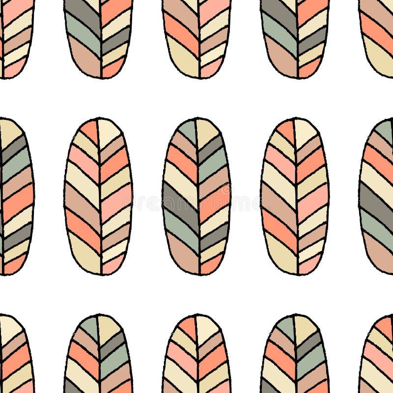 Naadloos vectorpatroon De achtergrond van de schetsveer Hand getrokken abstract ornament stock illustratie