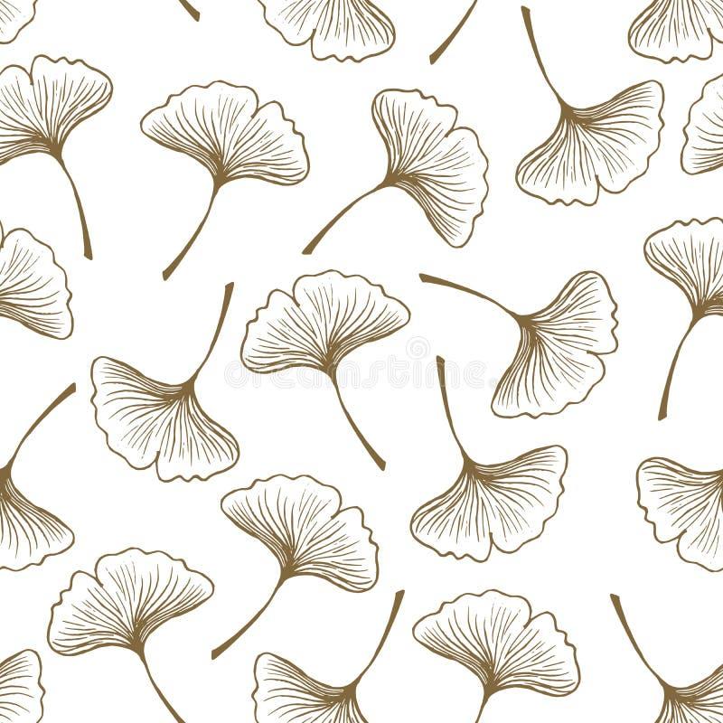 Naadloos Vectorpatroon: De bladerensilhouet van Ginkgobiloba op een witte/eenvoudige achtergrond vector illustratie