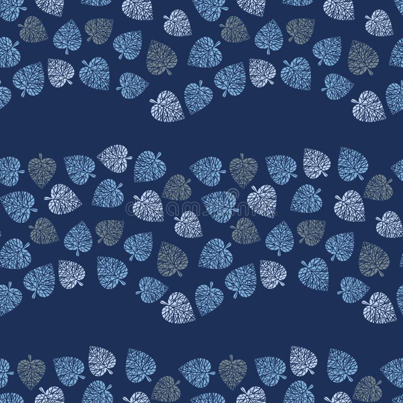 Naadloos vectorpatroon die met blauwe bladeren golvende strepen op donkere achtergrond vormen vector illustratie