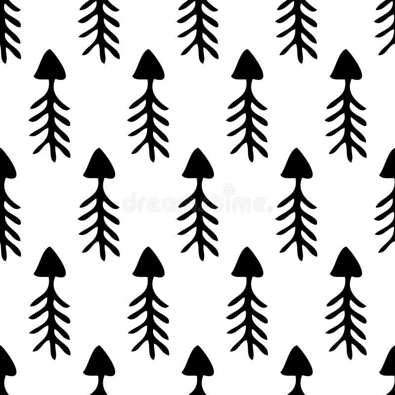 Naadloos vectorpatroon Eenvoudige zwart-witte achtergrond met hand getrokken pijlen vector illustratie