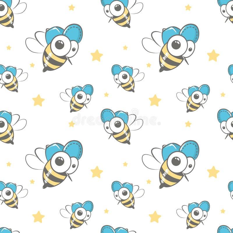 Naadloos vectorpatroon met bijen vector illustratie