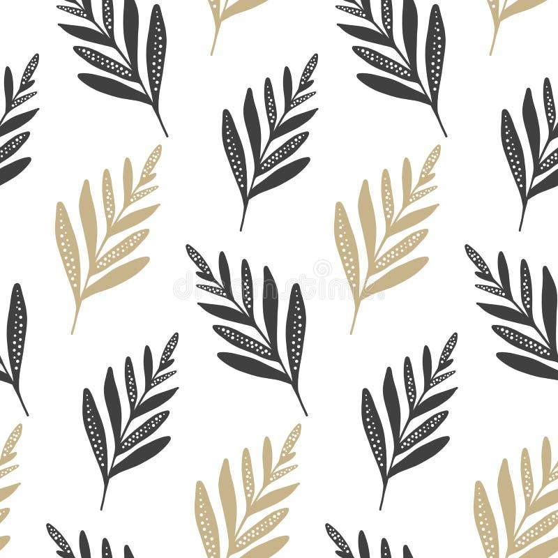 Naadloos vectorpatroon met bladeren en tak royalty-vrije illustratie