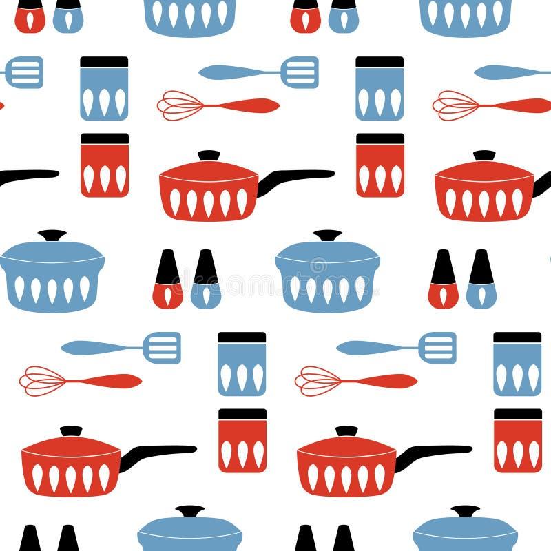 Naadloos vectorpatroon met cookware voor het koken van voedsel stock illustratie