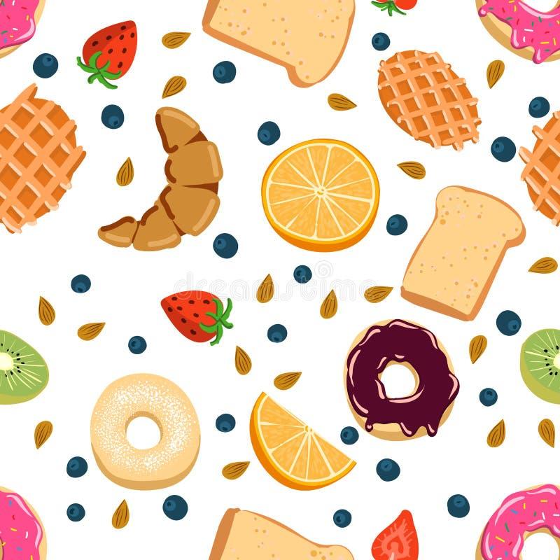 Naadloos vectorpatroon met de dingen van het kawaiiontbijt op witte achtergrond perfect voor verpakkend document achtergronden en royalty-vrije illustratie