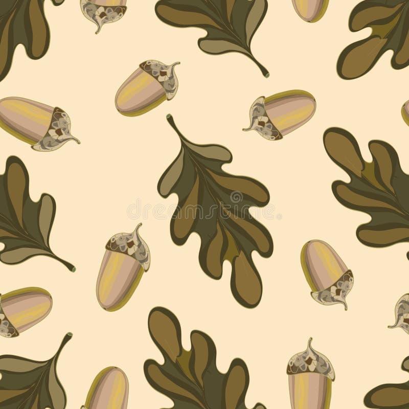 Naadloos vectorpatroon met de herfstbladeren Eiken blad en eikeltekening stock illustratie