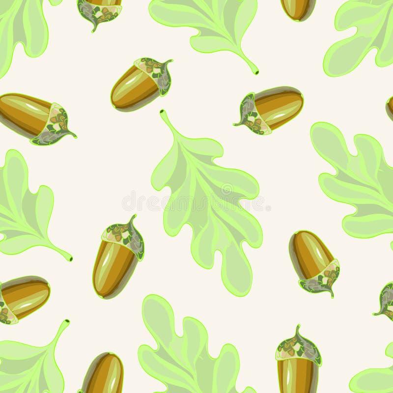 Naadloos vectorpatroon met de herfstbladeren Eiken blad en eikeltekening vector illustratie