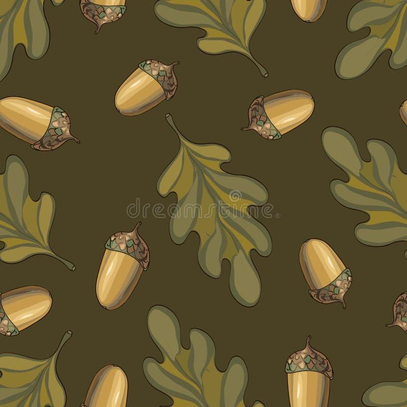 Naadloos vectorpatroon met de herfstbladeren Eiken blad en eikeltekening royalty-vrije illustratie