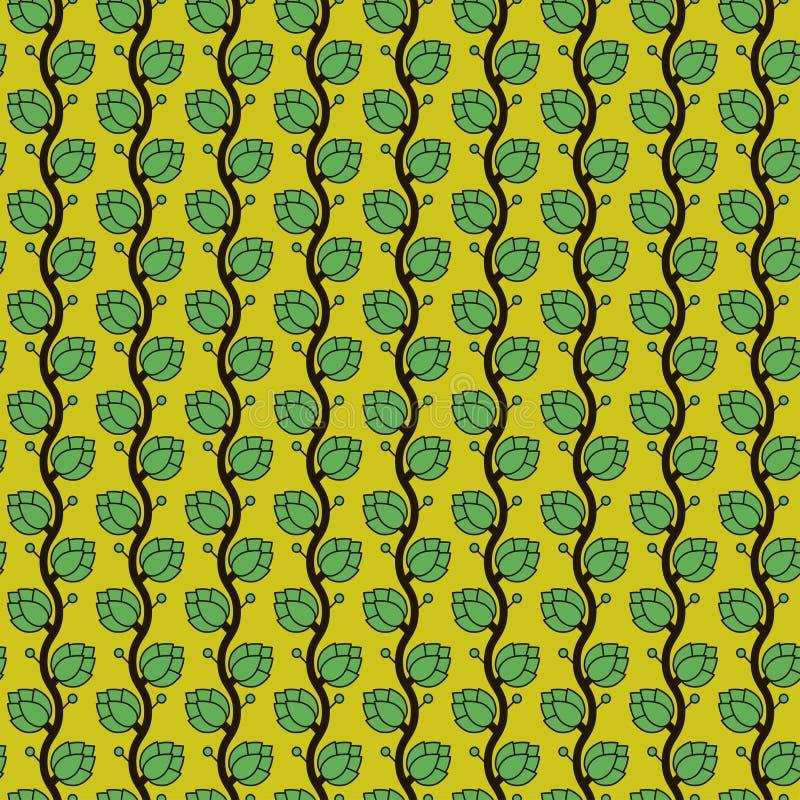 Naadloos vectorpatroon met de hopinstallatie van Japan in groene tonen stock illustratie