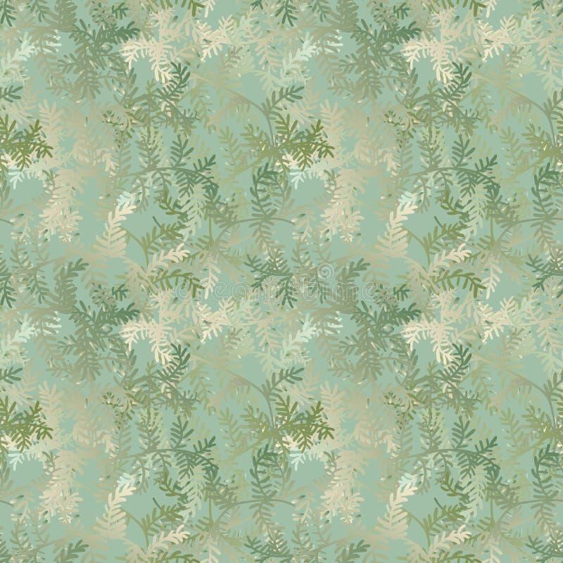 Naadloos vectorpatroon met de takken van de Kerstmisboom in bleek - groene gradiënten stock illustratie