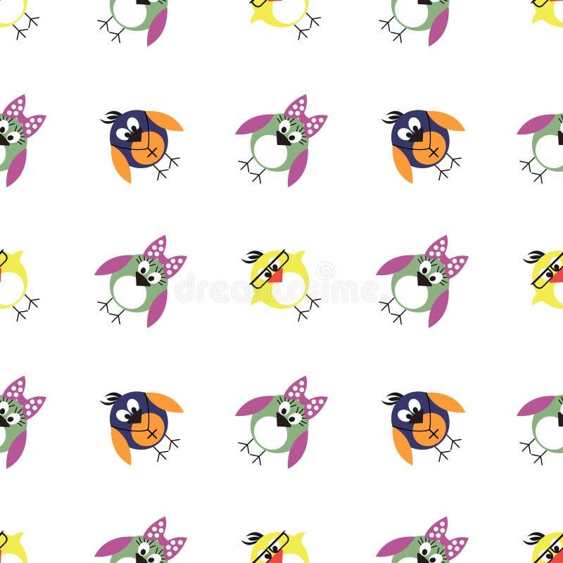 Naadloos vectorpatroon met dieren, leuke achtergrond met vogels, pinguïnen en kuikens vector illustratie