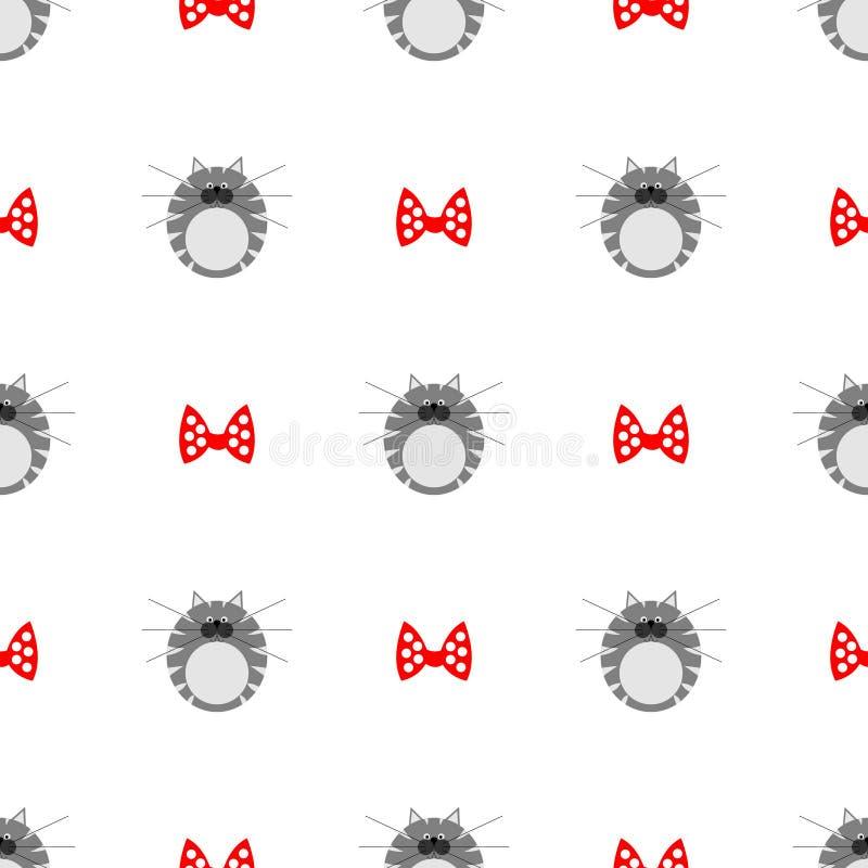Naadloos vectorpatroon met dieren, leuke symmetrische achtergrond met katten dik grijze gestreepte katjes met rode bogen over wit vector illustratie