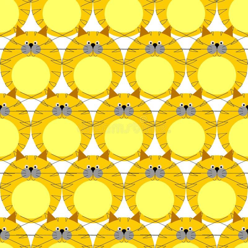 Naadloos vectorpatroon met dieren, leuke symmetrische achtergrond met katten dik rode gestreepte katjes over witte achtergrond stock illustratie
